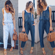 Летний Популярный эластичный джинсовый женский комбинезон с высокой талией, тонкие модные джинсы, обтягивающие сексуальные женские повседневные джинсы без рукавов