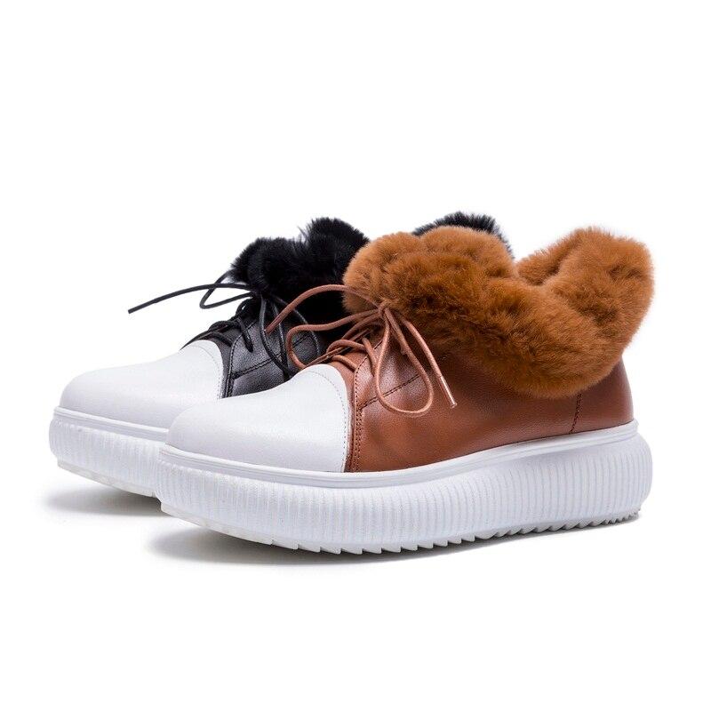 Noir Dentelle Chaussures up Femmes Plate De Colour Fourrure Black Appartements Creepers Mode Cheville caramel Vankaring Casual En Véritable D'hiver Cuir forme Mocassins 7qpOzcwF
