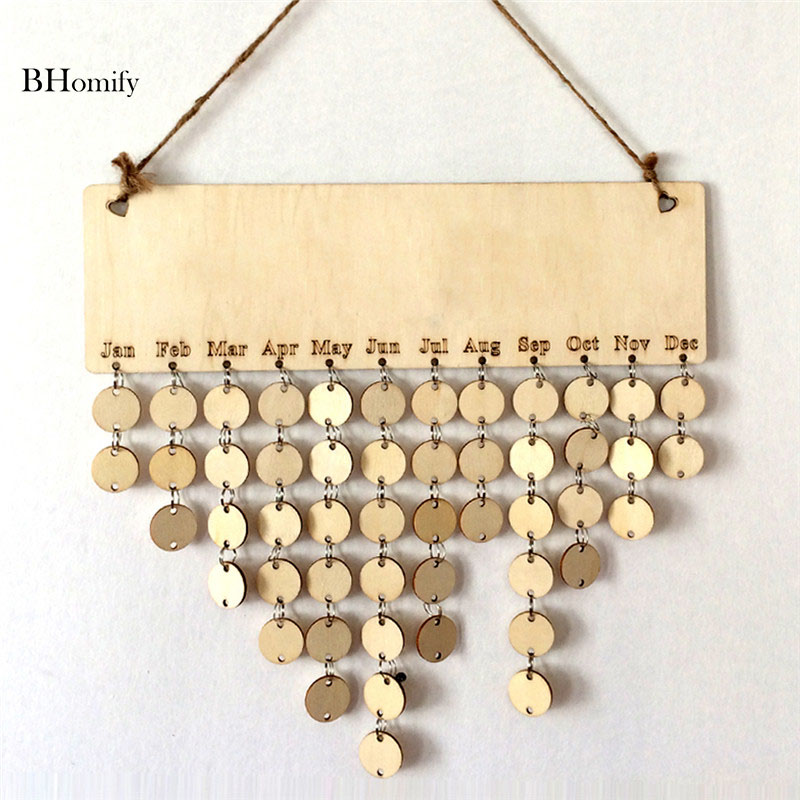 BHomify Wooden Wedding Planner Birthday Calendar Board DIY Family Friends Sign Special Dates Planner Board Hanging Decor