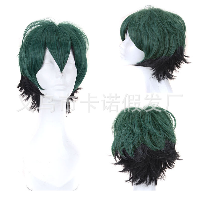 Free Hair Cap+ My Hero Academia Deku Izuku Midoriya Cosplay Wig Mens Short Green Hair Cosplay Costume Wigs