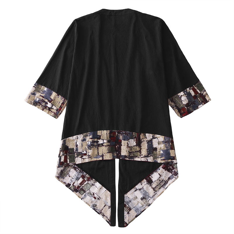 HTB1YLDyatzvK1RkSnfoq6zMwVXa4 2019 Plus Size Fashion Men Long Outwear Shirts Half Sleeve Irregular Chinese Style Retro Male Cloak Coats Stylish Casual Trench