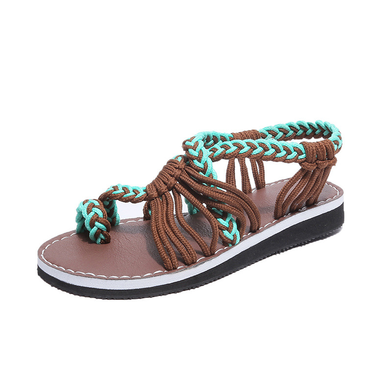 a2daa447c131d4 Women Sandals Hand woven Gladiator Sandals for Women Bohemia Summer Shoes  Female Beach Flat Sandals Shoes Women Rome Size 35 43-in Women s Sandals  from ...