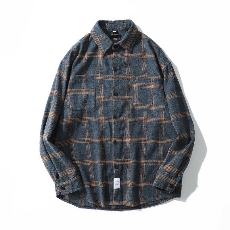 fc45c8d2b Flannel Striped Shirt Men Women Long Sleeve Vintage Shirts Men Japanese  Streetwear Fashions Casual Spring Autumn