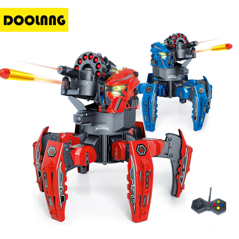 DOOLNNG 9003-1 Cool RC Battle Robot 2.4G Remote Control Spider Robot DIY Fighting Shooting Games Model Kids Interactive Toy Gift 2017 robot juguetes 1 24 large scale rc battle tank remote radio control recharge battery army model millitary tanks toy gift