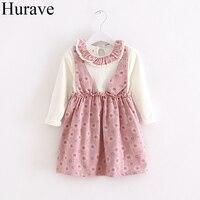 Hurave Sweet Baby Girl Dress Autumn Kid S Clothes Cotton Flower Pattern Collar Lace Waist Belt