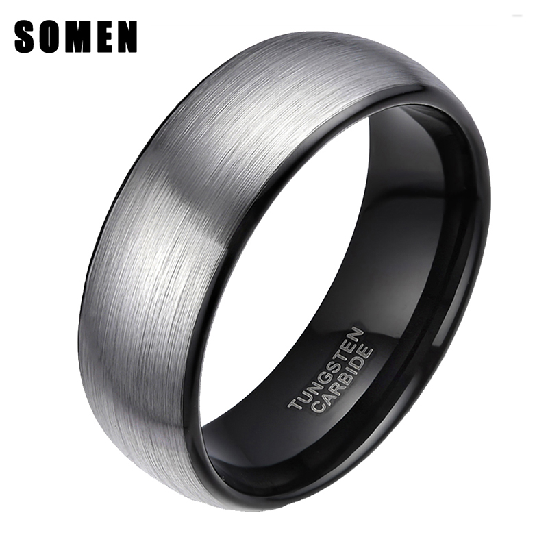 Somen Ring Heren Zilver 8mm Tungsten Ring Vintage trouwring Heren Verlovingsringen Heren Mode-sieraden Anti-Kras Bague Homme