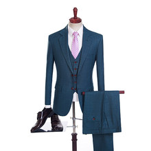 2018 Green Plaid Men Suit Lattice Blazer Wedding Suits Slim Fit Tuxedos British Men Suit Plaid Slim Fit Jacket+Pant+Vest(China)