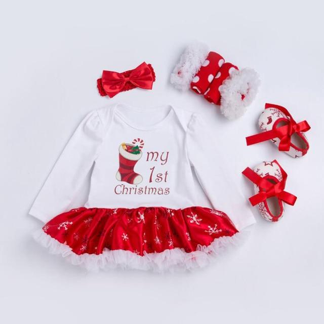Newborn Baby Christmas Outfits set Girls dress + Heandband+ shoes+ ...