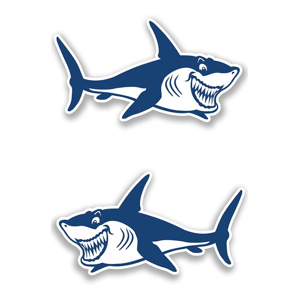 Image 5 - 1 Pair Cute & Funny Shark Decals Vinyl Shark Emblem Badge Sticker For Automobiles Motorcycle Boat Canoe Computer Etc Waterproof-in Decals & Stickers from Automobiles & Motorcycles