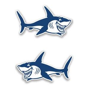 Image 5 - 1 Pair Cute & Funny Shark Decals Vinyl Shark Emblem Badge Sticker For Automobiles Motorcycle Boat Canoe Computer Etc Waterproof