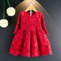 2018 Spring New Seven Sleeves Knee Princess Baby Girl Dressed Red Lace Embroidery Hollow Children S