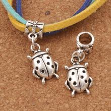 Ladybug Charm Beads 11x28.5mm 100pcs Antique Silver Dangle Fit European Bracelets Jewelry DIY B1553 frog charm beads 30 8x15 6mm 100pcs antique silver dangle fit european bracelets jewelry diy b167