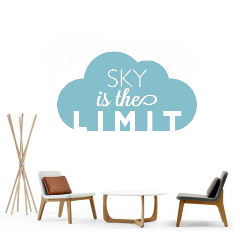 Sky Is The Limit In The Clouds Wall Sticker Quotes Wall Decals For Teens Bedroom Office Room Wall Decor Art Wall Mural L99