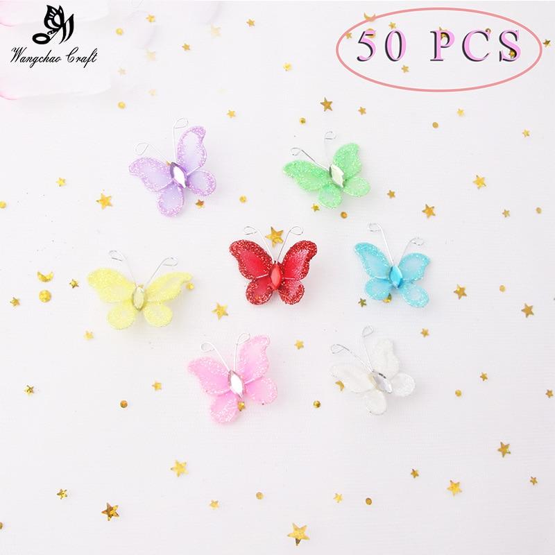 50pcs/lot Cute Nylon Butterflies Wedding Birthday Party Decorations Kids DIY Home Wall Decora Baby Shower 7 colors 3cm Hot Sale