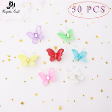 50pcs/lot Cute Nylon Butterflies Wedding ceremony Birthday Get together Decorations Youngsters DIY House Wall Decora Child Bathe 7 colours 3cm Sizzling Sale