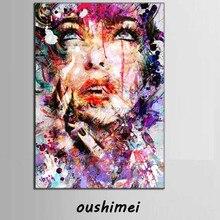 Красивая Леди выглядит вверх небо в фиолетовая одежда абстрактный портрет, Картина Ручная роспись маслом на холсте женщины лицо искусство
