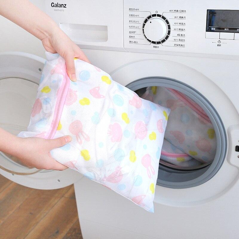 Fashion Zippered Foldable Laundry Bag Bra Socks Underwear Clothes  Foldable Nylon Bag Washing Machine Protection Net