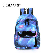 QICAI YANZI Women Moustache Stars Universe Space Printing Canvas Knapsack Girls School Book Laptop Backpacks Bag