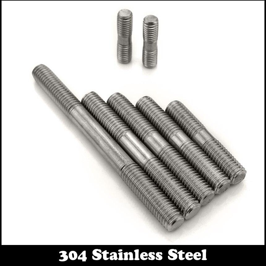5pcs M3 130mm M3*130mm 304 Stainless Steel Dual Head Screw Rod Double End Screw Hanger Blot Stud 20pcs m3 6 m3 x 6mm aluminum anodized hex socket button head screw