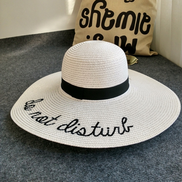 8cc78f99 2017 do not disturb Summer Women Sun Hat Ladies Wide Brim Straw Hats Outdoor  Foldable Beach Panama Hats Church Hat