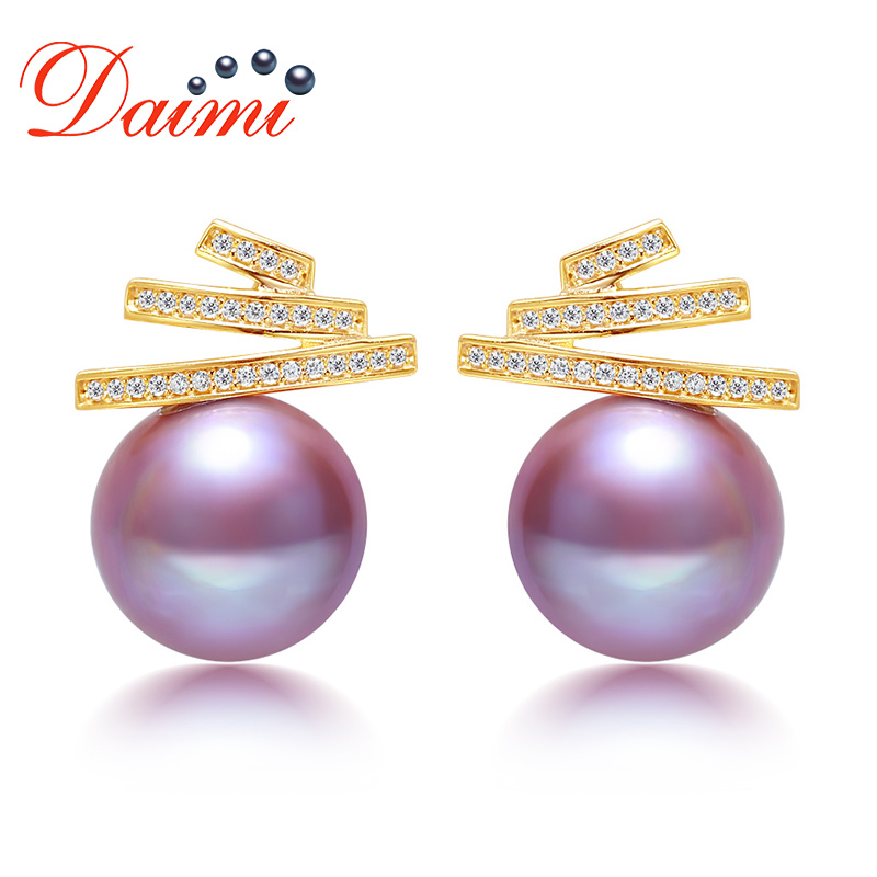 DAIMI 11 12mm Natural Pearl Earrings Real 925 Sterling Silver Big Round Purple Pearl Earrings Wedding