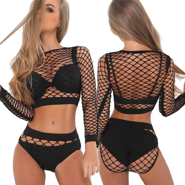 fed384e064be4 Women Bikini Cover-Up Mesh Sheer Crop Top Long Sleeve See-Through Fishnet  Shirts Blouse High Waist Shorts Swimsuit Bathing Suit