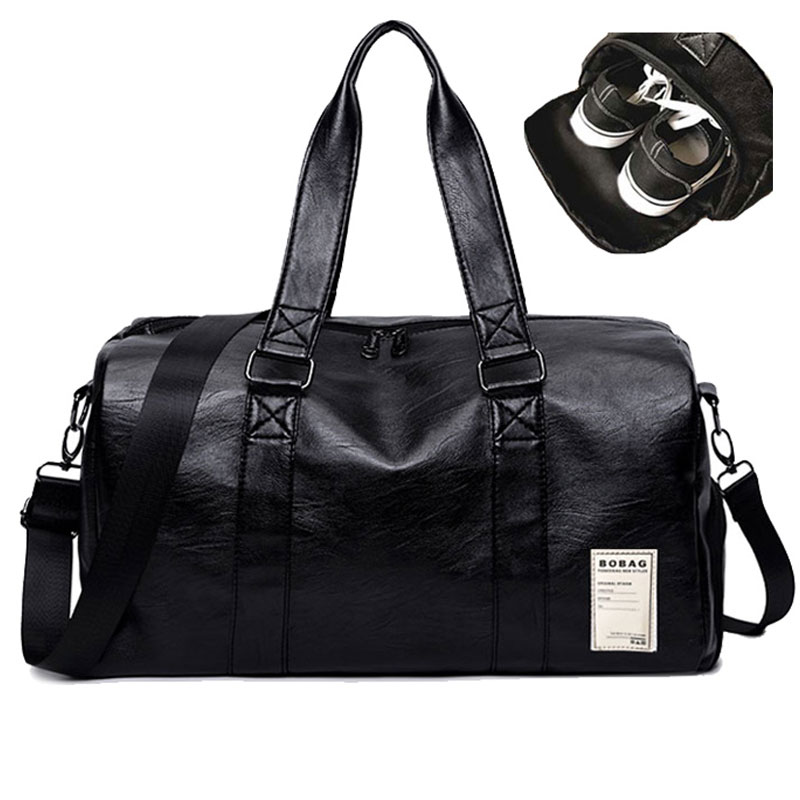 Male Gym Bag Pu Leather Female Sport Shoe Bag For Women Fitness Over The Shoulder Yoga Bag Travel Handbags Black For Training