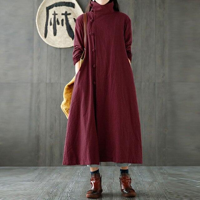 Zanzea Lengan Panjang Turtleneck Kantong Retro Katak Terbuka Depan Jaket  Wanita Musim Dingin Musim Gugur Kapas 2945a6b0a5