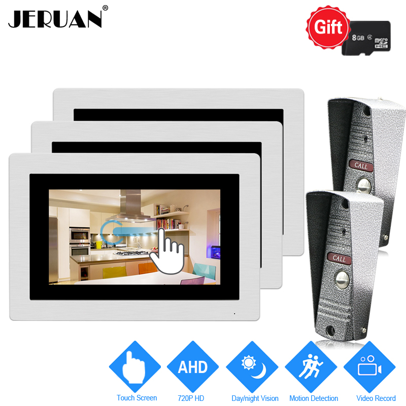 JERUAN 1.0MP 720P AHD Motion Detection 7 inch Touch Screen Video Doorbell Intercom System 3 Record Monitors +2 HD IR Mini Camera jeruan ip wifi 7 inch touch screen video doorbell intercom system kit 720p ahd record monitor ir coms camera support android ios