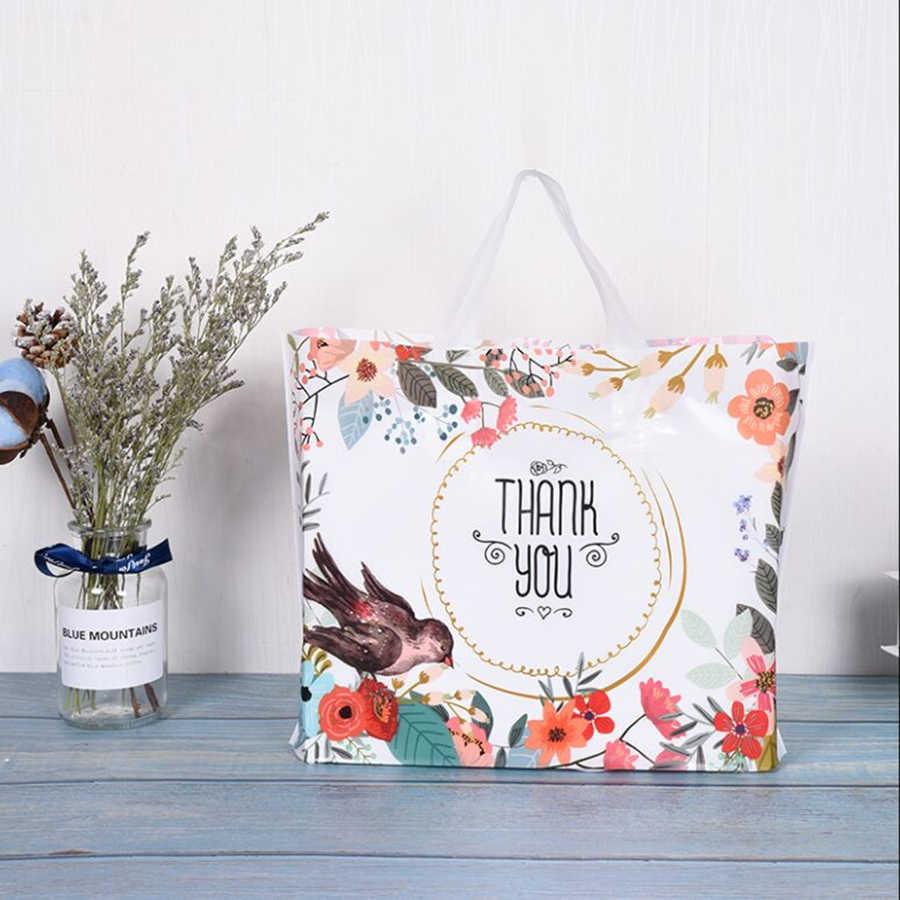 D & P 10 個ラブリーありがとうギフトショッピング好意厚みプラスチックウェディングループハンドルバッグ服プラスチックキャリーバッグ