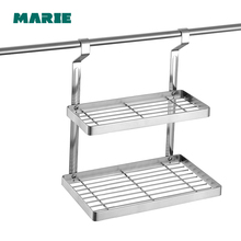 Bathroom Shelves Two Layer Rack stainless steel Towel Washing Shower Basket with hang lever