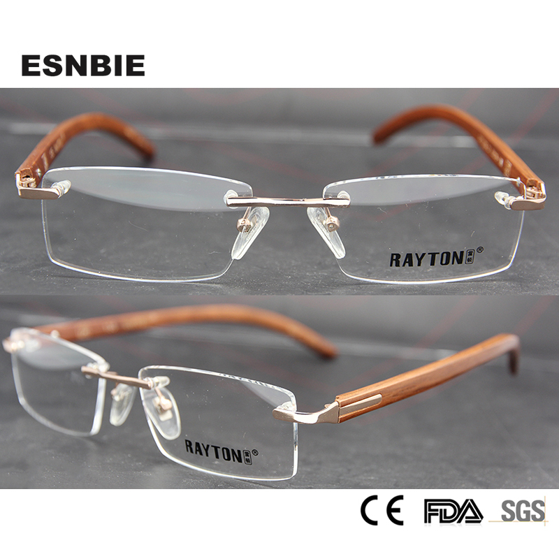 ESNBIE Rimless Eyeglasses for Men Rare Wood Frame Glasses for Gents Man Wooden Glasses Spectacle Frame in Clear Lens
