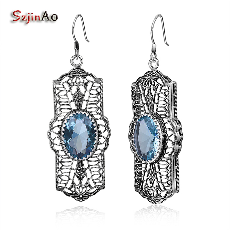 Szjinao Products Aquamarine Vintage Style Jewelry Authentic 925 Sterling Silver Earrings for Women Wedding Favors Gifts