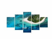 5 Pieces canvas art Islands Sailing Landscape Paintings Wall Art Decoration for home Canvas Oil Painting For Living Room Framed