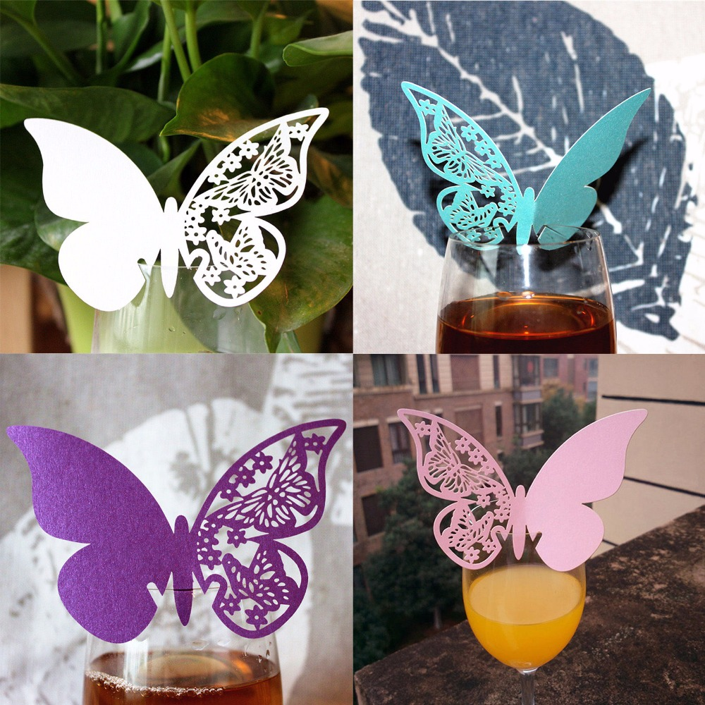 8 Color 50pcs/lot Butterfly Shaped Laser Cut Paper Place Card / Escort Card / Cup Card/ Wine Glass Card For Wedding Decor Favor 1 design laser cut white elegant pattern west cowboy style vintage wedding invitations card kit blank paper printing invitation