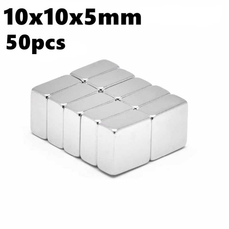 Small Block Neodymium Magnets 10mm x 10mm x 5mm N35 Rare Earth NdFeB 50pcs 10*10*5 Super Powerful Strong Magnetic Magnet