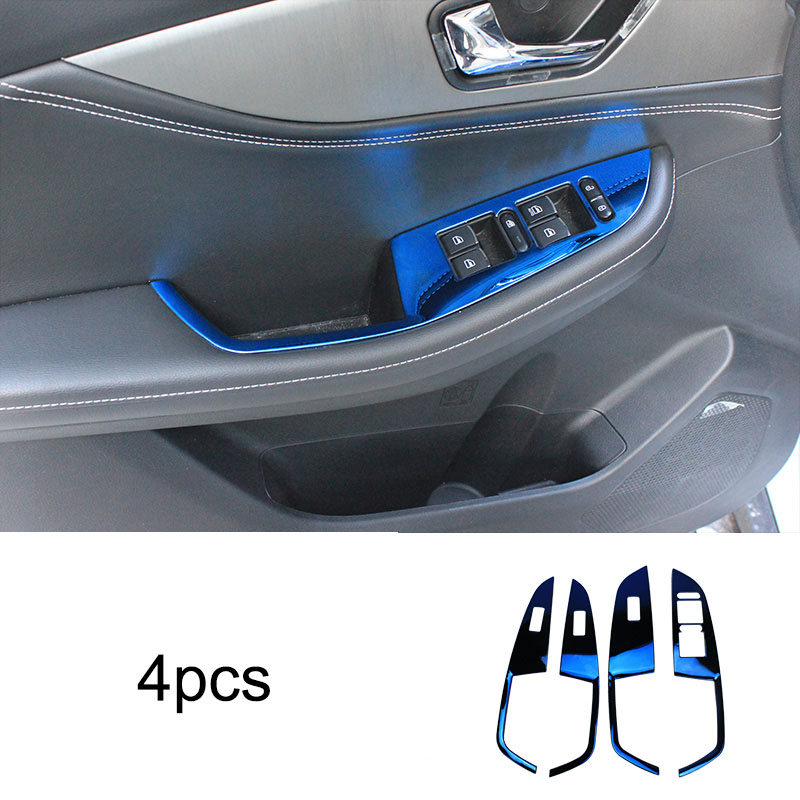 4pcs For Dongfeng S560 Glass Lifting Switch Panel Inner Door Handle Stainless Steel Decoration Frame