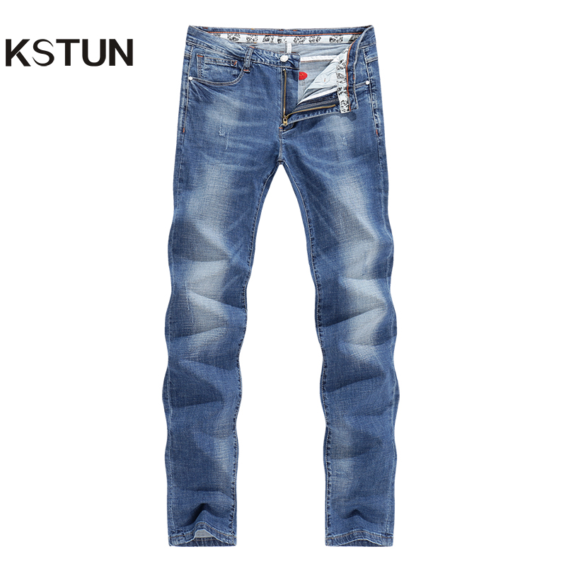 KSTUN Men's Summer Jeans Light Blue High Elasticity Soft Fashion Pockets Designer Straight Slim Business Casual Male Denim Pants