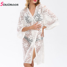 Beach Cover Up Floral Embroidery Bikini Swimwear Women Robe De Plage Cardigan Bathing Suit Ups Long Tunic