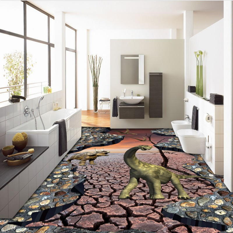 Free Shipping Custom Dry Ground Dinosaur Rhino 3D Painting Thickened Living Room Kitchen Home Decoration Floor