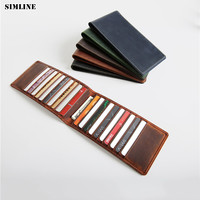 SIMLINE Vintage Genuine Cow Leather Wallet Men Crazy Horse Men's Long Slim Wallets Purse Credit Card Holder Holders Male Women