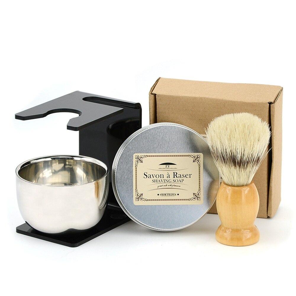 4pcs/set Shaving Beard Brush Set Men Natural Wood Boar Bristle Brush +Stainless Bowl  Stand + Barber Goat Milk Razor Soap