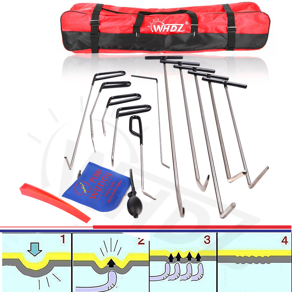 WHDZ 11 pcs Auto Parts Repair Set Paintless Dent Repair Tools Hail and Door Ding Repair Starter Dent Removal Hand tools Rods