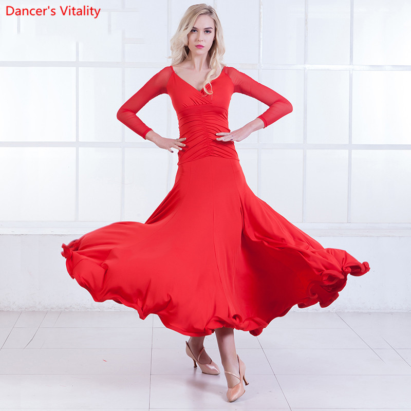 Waltz Standard Dresses For Women 5 Colors Sexy Dance Dresses Long Sleeve Ballroom Dance Competition Dresses S-XXXL