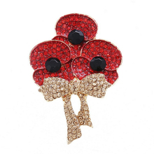 New Arrival British Princess Kate Princess of Wales Memorial rhinestone brooch Red Poppy Brooch Poppy For