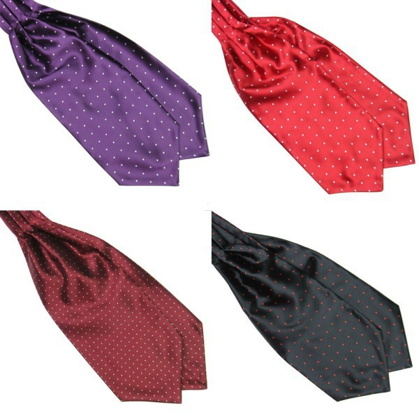 Men Polka Dot Long Silk Ties  Cravat Ascot Handkerchief Gentlemen FOR Drop Shipping