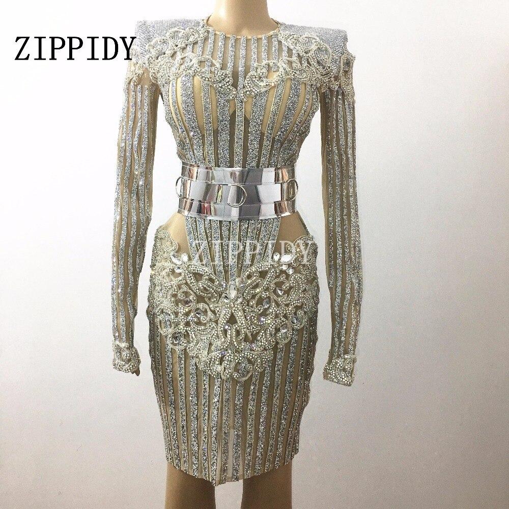 Luxe brillant cristaux d'argent Bling strass robe ceinture tenue Costume célébrer anniversaire femme chanteur robes scène porter