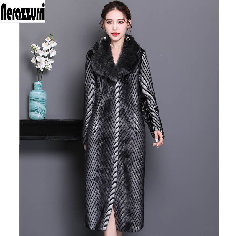 Nerazzurri winter faux fur coat women 2019 fashion long sleeve warm female furry fluffy fake mink