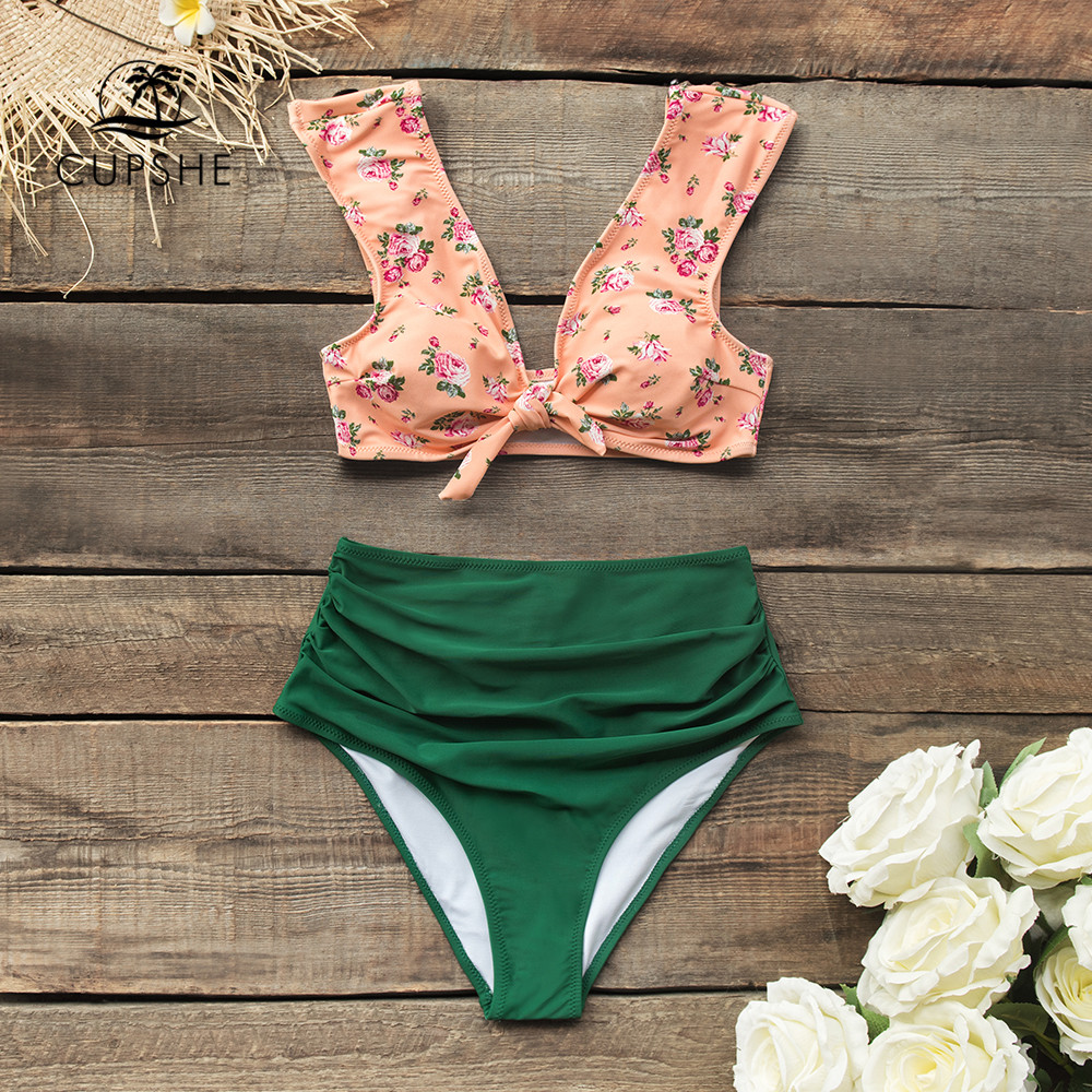 CUPSHE Front-knot Pink Floral And Green High-waisted Bikini Sets Sexy Swimsuit Two Pieces Swimwear Women 2020 Beach Bathing Suit