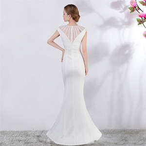 Image 3 - Its Yiiya Evening dress V neck Short sleeves Beading Party gowns Sexy Floor length zipper back Formal Mermaid Prom dresses C174